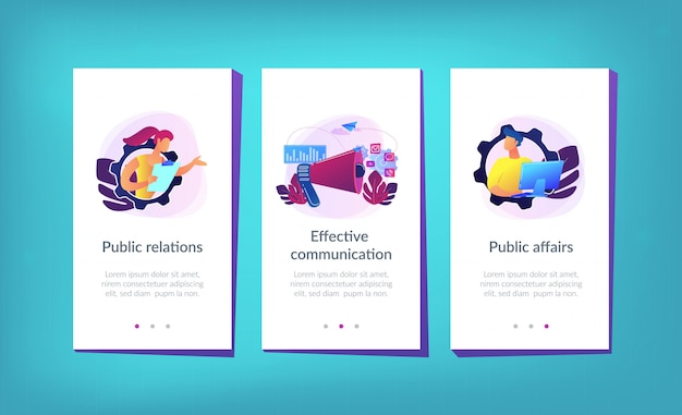 Modello di interfaccia per app pubbliche relazioni Vettore Premium