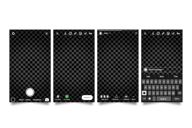 Modello di interfaccia storie instagram Vettore gratuito