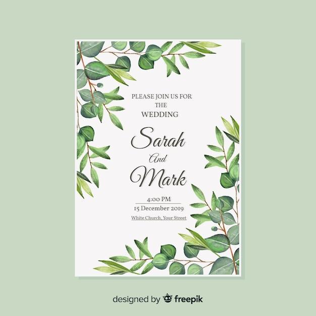 Modello di invito a nozze ad acquerello Vettore gratuito