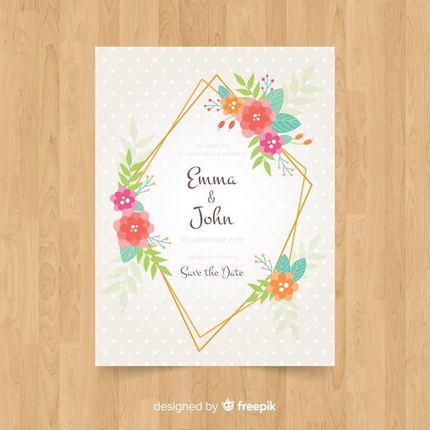 Modello di invito a nozze cornice floreale Vettore gratuito