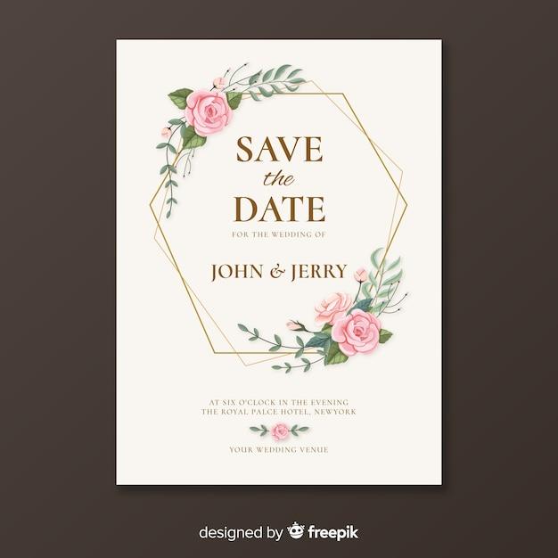 Modello di invito a nozze d'oro Vettore gratuito