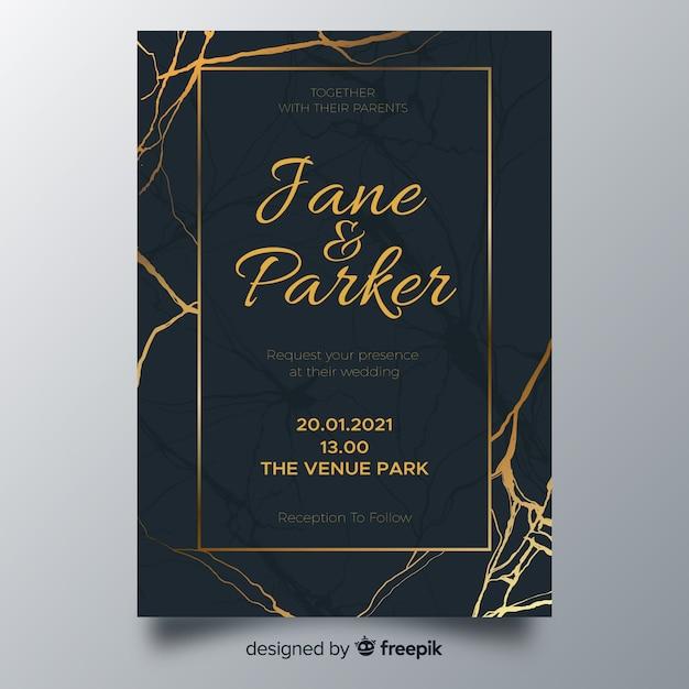 Modello di invito a nozze linee d'oro Vettore gratuito
