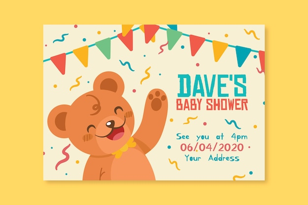 Modello di invito baby doccia Vettore gratuito
