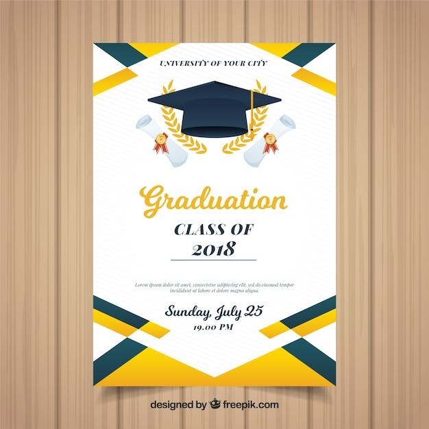 Modello di invito colorato graduazione con design piatto Vettore gratuito