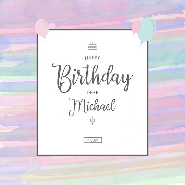 Modello di invito compleanno dell'acquerello Vettore gratuito