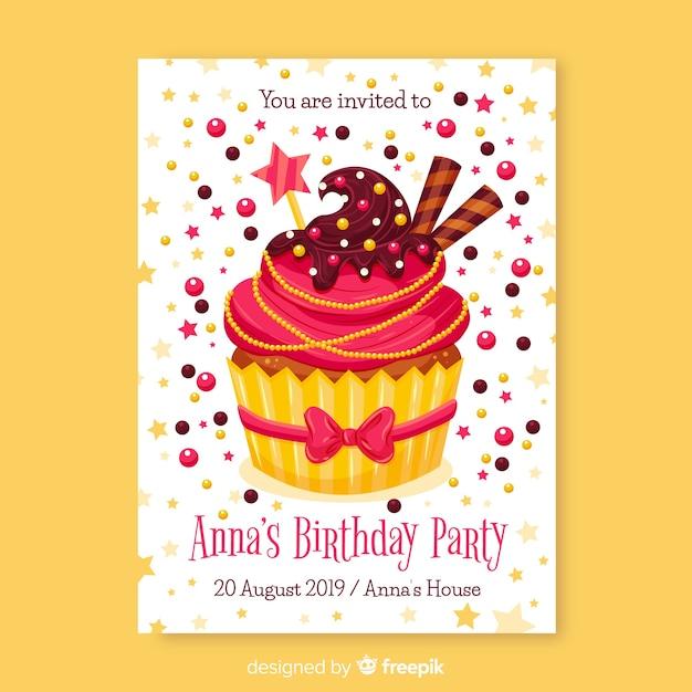 Modello di invito compleanno design piatto Vettore gratuito