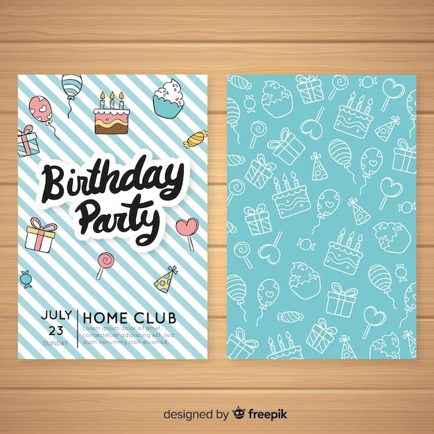 Modello di invito compleanno disegnati a mano Vettore gratuito
