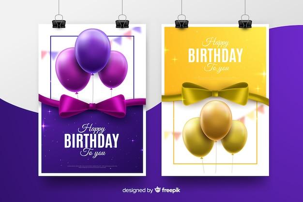 Modello di invito compleanno stile realistico Vettore gratuito