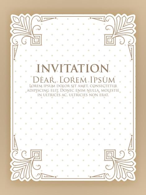 Modello di invito con cornice ornamentale vintage Vettore gratuito