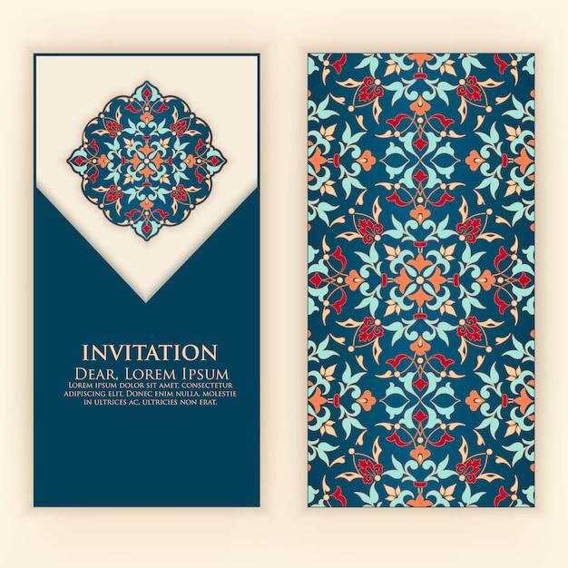 Modello di invito con ornamenti astratti Vettore gratuito