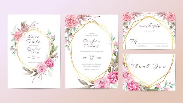Modello di invito di bel matrimonio impostato con rose e peonie Vettore Premium