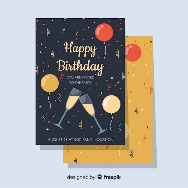 Modello di invito di buon compleanno in stile piano Vettore gratuito