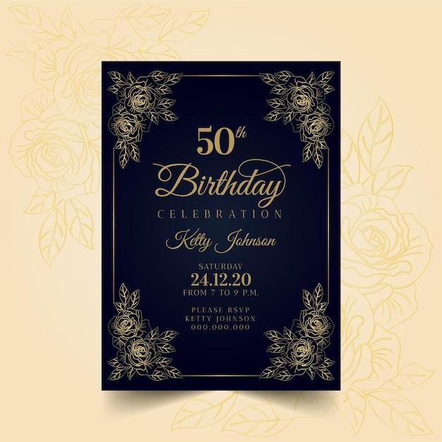 Modello di invito di compleanno elegante Vettore gratuito