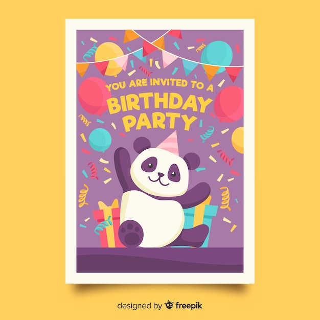Modello di invito di compleanno per bambini con orso panda Vettore gratuito