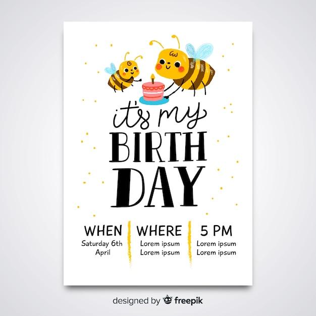 Modello di invito di compleanno per bambini Vettore gratuito