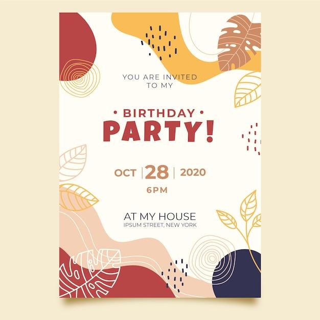 Modello di invito di compleanno Vettore gratuito