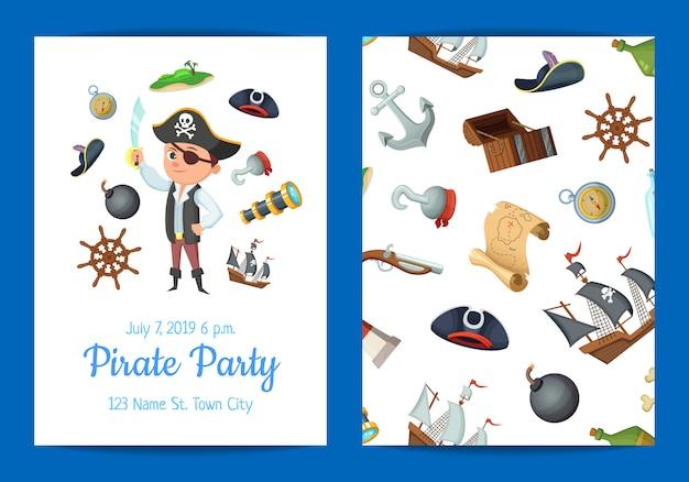 Modello di invito di festa di compleanno dei cartoni animati pirati di mare Vettore Premium