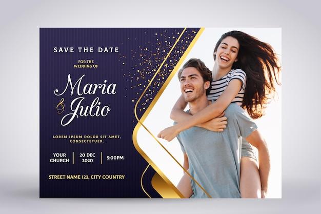 Modello di invito di fidanzamento con foto Vettore gratuito