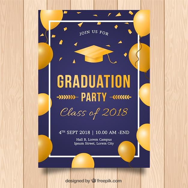 Modello di invito di laurea elegante con stile dorato Vettore gratuito