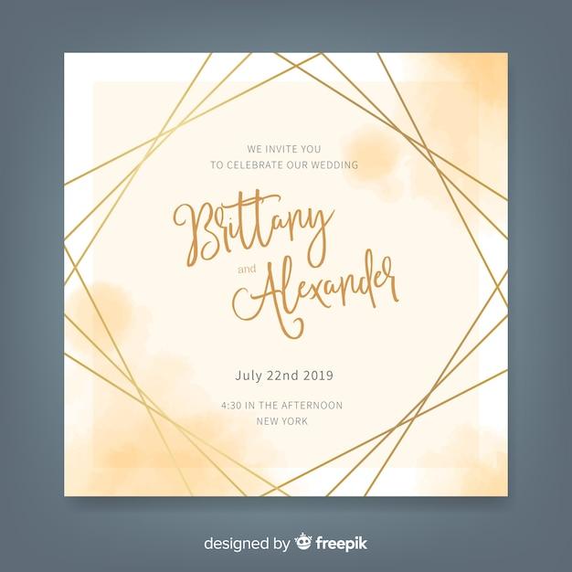 Modello di invito di matrimonio acquerello elegante Vettore gratuito