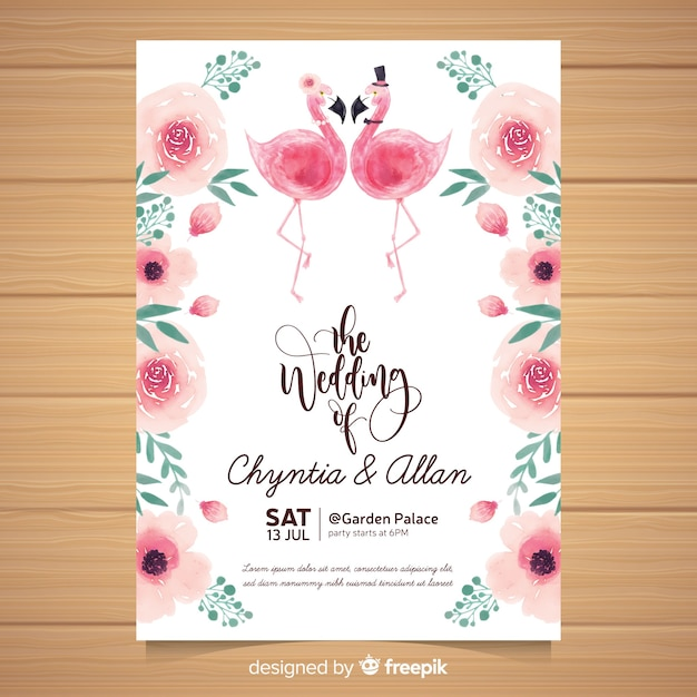 Modello di invito di matrimonio animale dell'acquerello Vettore gratuito