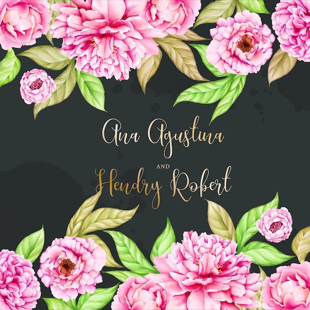 Modello di invito di matrimonio con fiore di peonia acquerello Vettore Premium