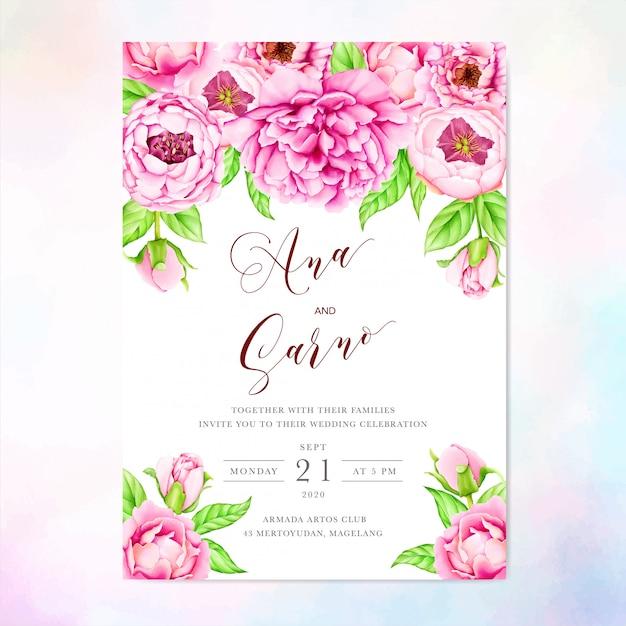 Modello di invito di matrimonio con fiori di peonia acquerello Vettore Premium