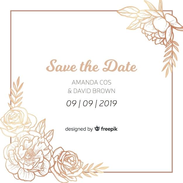 Modello di invito di matrimonio con fiori di peonia Vettore gratuito