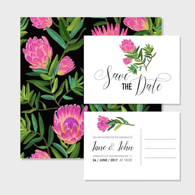Modello di invito di matrimonio con fiori Vettore Premium