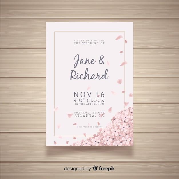 Modello di invito di matrimonio con fiori Vettore gratuito