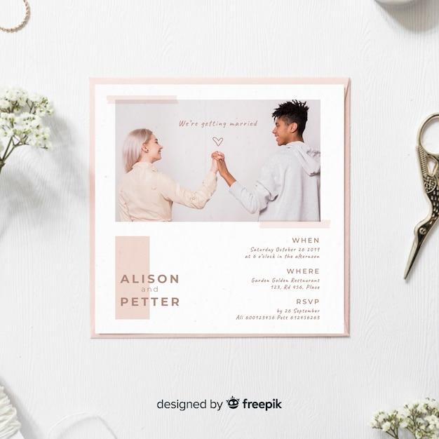 Modello di invito di matrimonio con foto Vettore gratuito