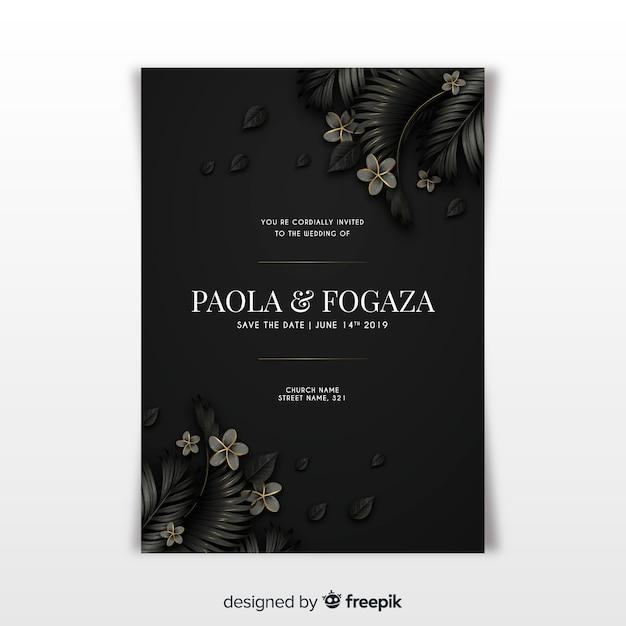 Modello di invito di matrimonio elegante con foglie tropicali Vettore gratuito