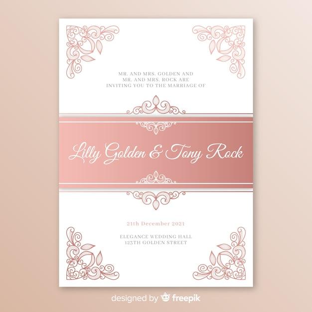 Modello di invito di matrimonio elegante con mandala Vettore gratuito