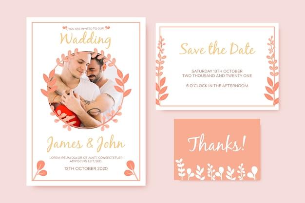 Modello di invito di matrimonio elegante Vettore gratuito