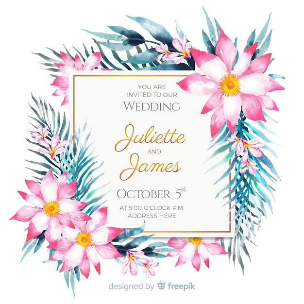 Modello di invito di matrimonio floreale dell'acquerello Vettore gratuito