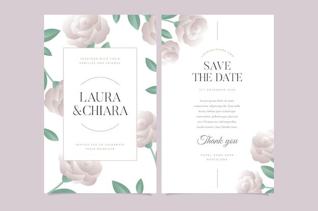 Modello di invito di matrimonio floreale Vettore gratuito
