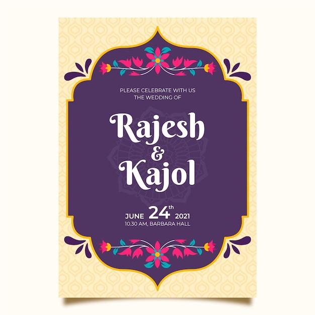 Modello di invito di matrimonio indiano Vettore gratuito