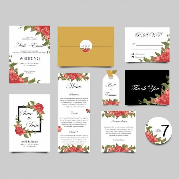 Modello di invito di matrimonio rose frame Vettore Premium