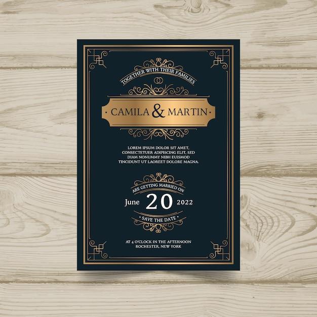 Modello di invito di matrimonio vintage Vettore gratuito