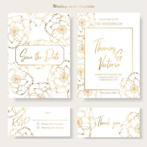 Modello di invito di nozze con elementi decorativi dorati Vettore Premium