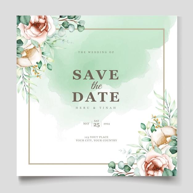 Modello di invito di nozze con foglie di eucalipto impostato Vettore gratuito