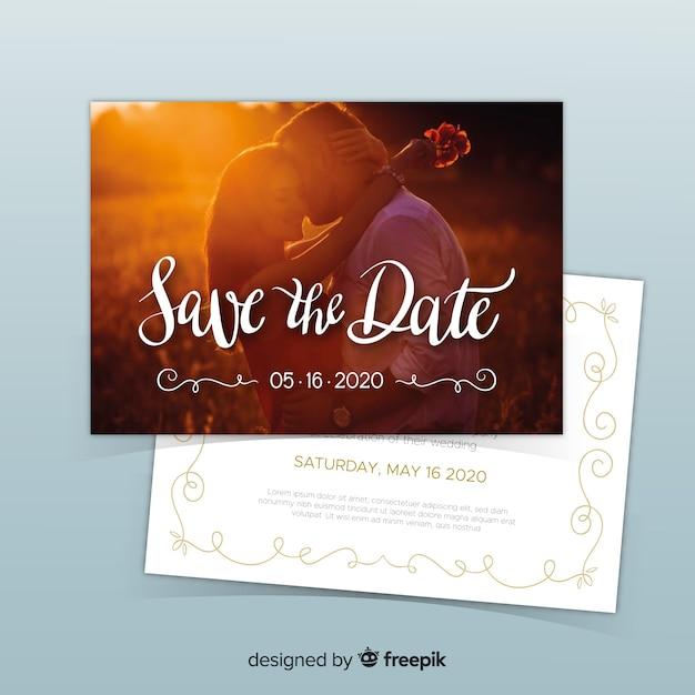Modello di invito di nozze con foto Vettore gratuito