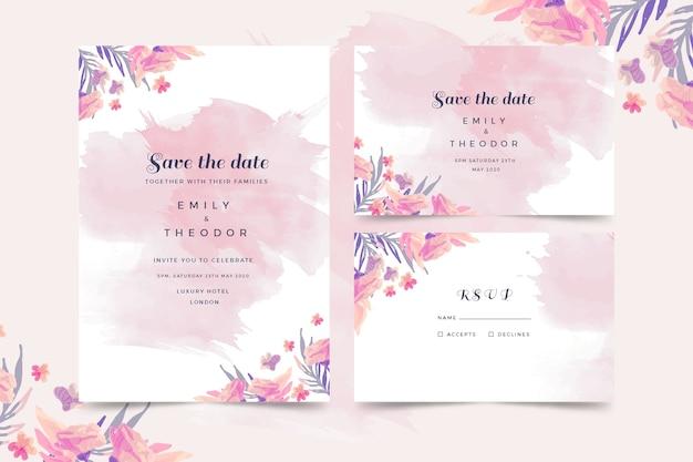 Modello di invito di nozze dell'acquerello Vettore gratuito