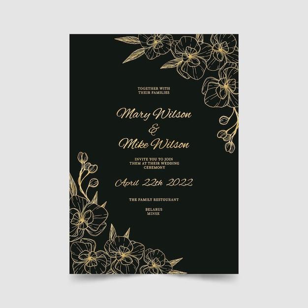 Modello di invito di nozze di lusso Vettore gratuito
