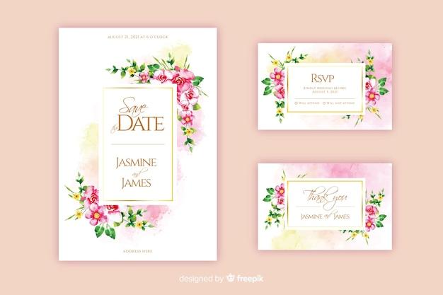 Modello di invito di nozze floreale dell'acquerello Vettore gratuito