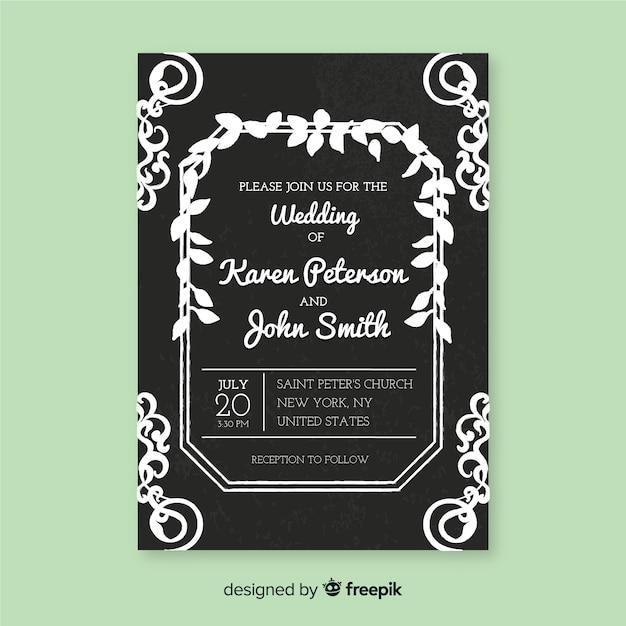 Modello di invito di nozze in stile vintage Vettore gratuito