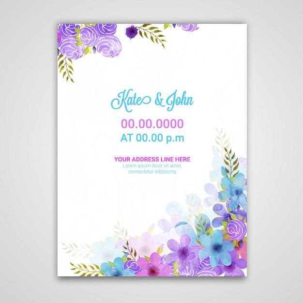 Modello di invito di nozze modello con fiori. Vettore Premium