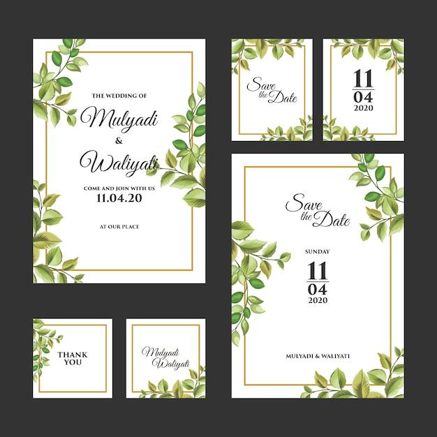 Modello di invito di nozze ornamento floreale decorativo Vettore Premium