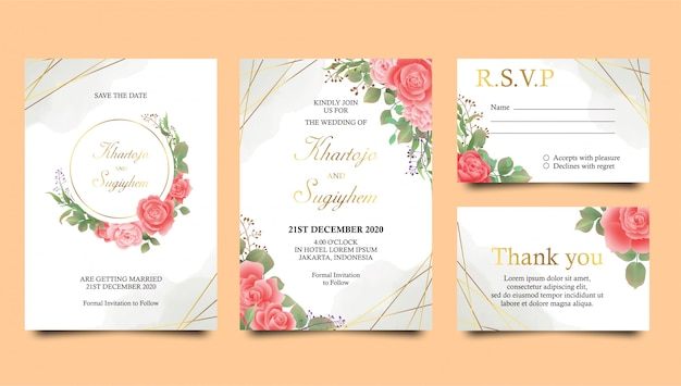 Modello di invito di nozze rosa con sfondo acquerello e cornice d'oro Vettore Premium