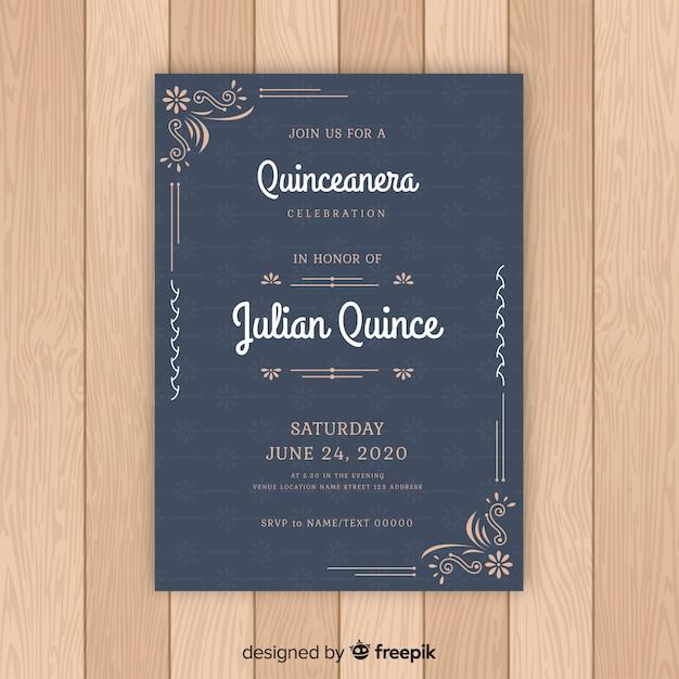 Modello di invito di ornamenti floreali quinceanera Vettore gratuito